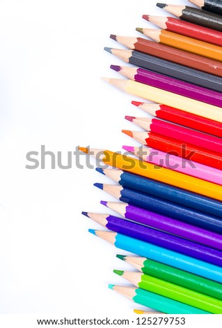 Close up group of pencils colour - stock photo