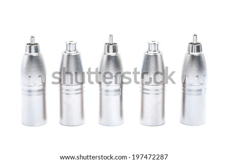 Close up Group of XLR adapter with male and female plug. Objects isolated on white background - stock photo