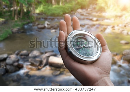 Close up Hand hold with compass  - stock photo