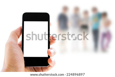 Close up hand holding smart phone with blank screen on people background - stock photo