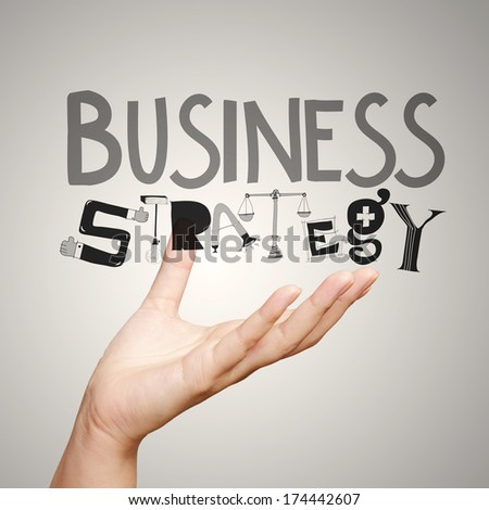 close up hand showing design word  business strategy as concept - stock photo