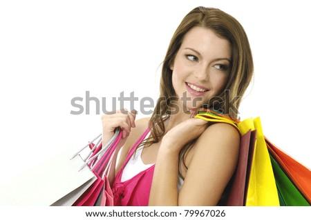 Close up happy shopping girl - stock photo