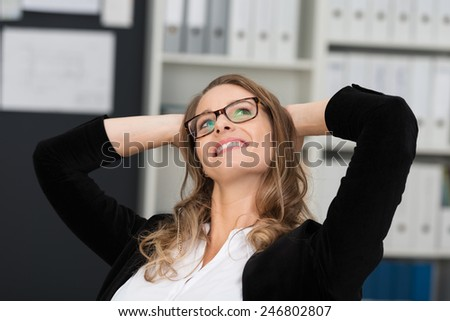 Close up Happy Thoughtful Young Businesswoman, Putting her Hands at the Back of her Head while Looking Up. - stock photo