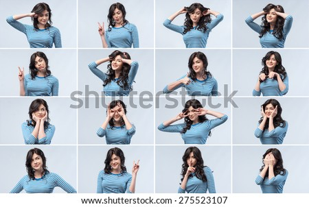 Close-up happy woman portrait isolated over blue background. Collage - stock photo