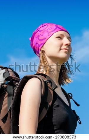 Close up hiker portrait - stock photo