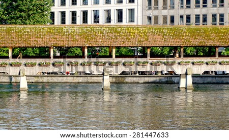 close up historical wooden Chapel Bridge in Lucerne, Switzerland - stock photo