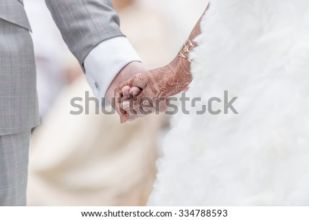 Close-up Holding Hands in indian wedding ritual. - stock photo