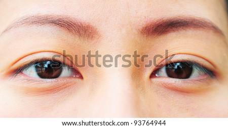 Close up human eye. macro shooting. - stock photo