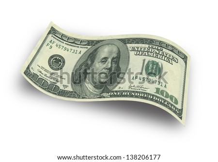 Close up hundred dollar banknote on white background - stock photo
