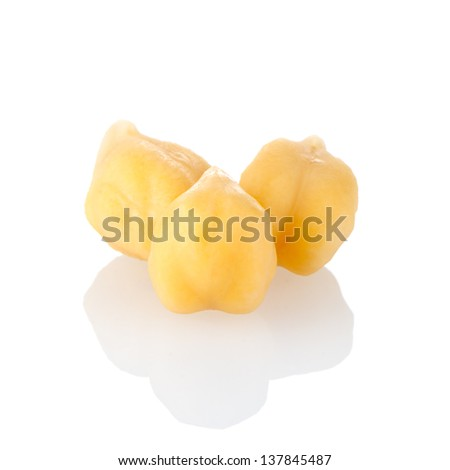 Close up image chickpeas against white background - stock photo