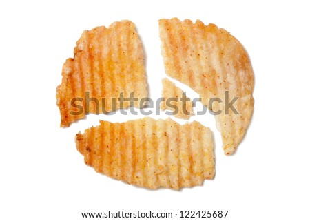 Close-up image of a broken potato chip cut into pieces against the white background - stock photo
