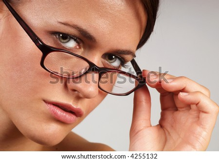 Close up image of a Business woman on grey - stock photo