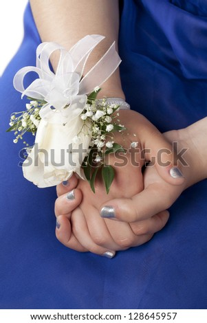 Close-up image of a lady's hand with wrist corsage - stock photo