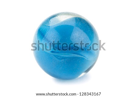 Close-up image of a piece of a blue marble ball isolated on a white background - stock photo