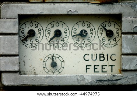 Close-up image of a rusty old gas meter - stock photo