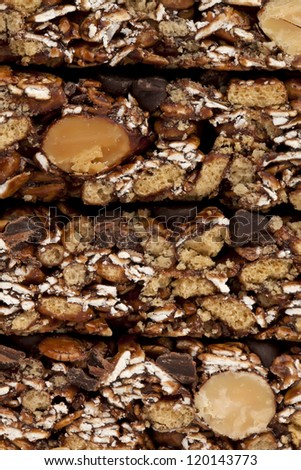 Close-up image of a stack of chewy granola bars - stock photo