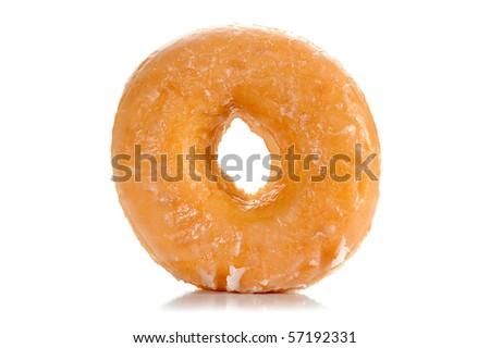 Close-up image of a sugar glazed donut studio isolated on a white background - stock photo