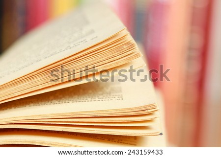Close-up image of an open book - stock photo