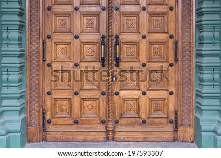 close-up image of an wooden ancient doors - stock photo