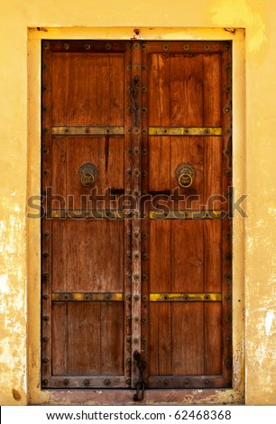 close-up image of ancient India doors - stock photo