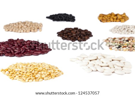 Close up image of assorted heap of beans on white background - stock photo