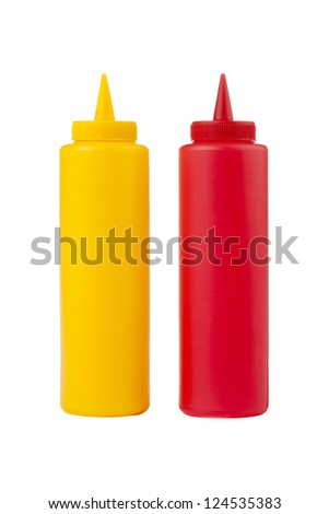 Close up image of bottles of mustard and ketchup against white background - stock photo