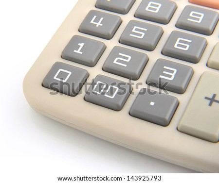 Close up image of Calculator isolated in white - stock photo