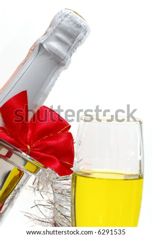 Close up image of Champagne and some Christmas decoration - stock photo