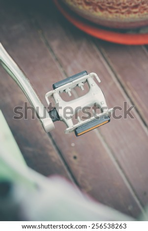 close-up image of classic vintage bicycle pedal - stock photo