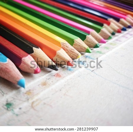 Close up image of color pencils / Set of color pencils/ Color pencils for creativity (color, pencil, art) - stock photo