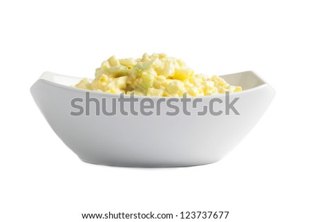 Close up image of eggs salad in white bowl against white background - stock photo