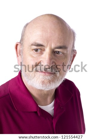 Close up image of face of an old man isolated on white background - stock photo