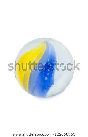 Close up image of glass marble with colorful swirl isolated on white background - stock photo