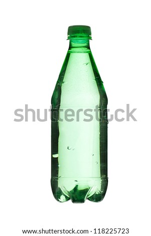 Close up image of green bottle with water against white background - stock photo