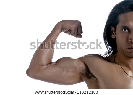 Close up image of guy flexing his bicep against white background - stock photo