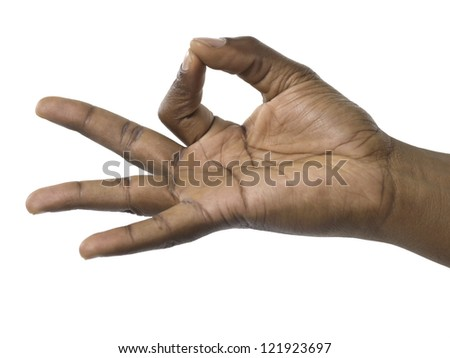 Close up image of hand gesturing a sign - stock photo