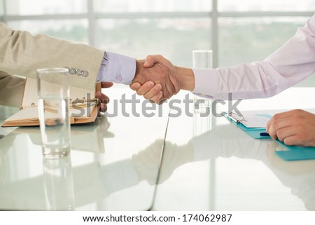 Close-up image of human handshaking in the sign of success in business  - stock photo