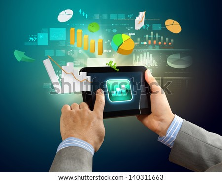 Close-up image of male hands holding tablet pc - stock photo