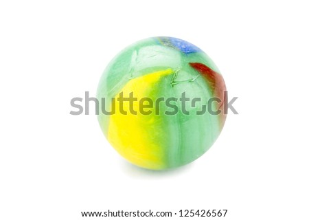 Close up image of marble ball with various of colorful against white background - stock photo