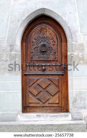 Close-up image of old wooden door - stock photo