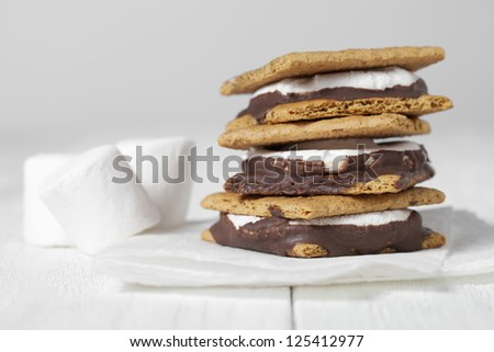Close-up image of smores sandwich with white marshmallows on the side - stock photo