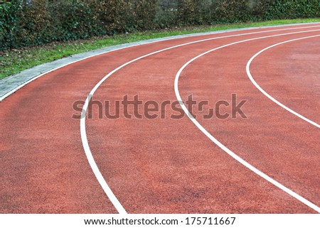 Close up image of stadium running way - stock photo