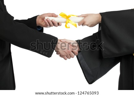 Close up image of student accepting a diploma against white background - stock photo