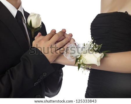 Close up image of sweet couple hand against white background - stock photo