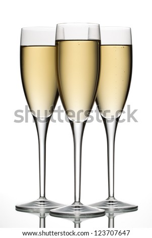 Close-up image of three glasses of wine on a white background - stock photo