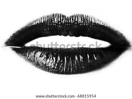 close up image of womans sexy lips - stock photo