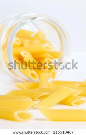Close - up Italian Macaroni Pasta raw food   - stock photo