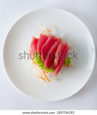 Close up japan style food sashimi from tuna; on the white plate - stock photo