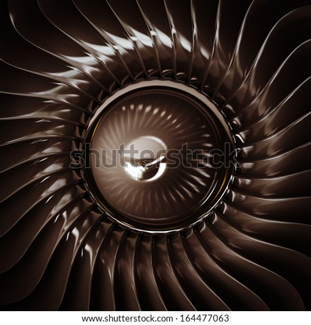 close up Jet engine front view isolated on black background. High resolution. 3D image  - stock photo