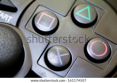 close-up joy sticks controller are usually used as computer game accesories - stock photo